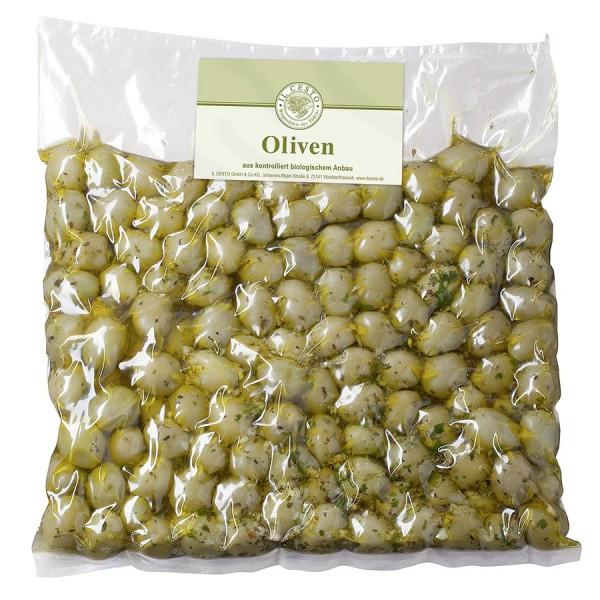 Oliven grün mariniert - Grossgebinde, kg
