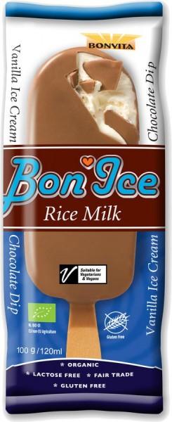 Stieleis Reismilch-Eiscreme mit Schokoüberzug hell, 120ml