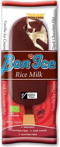Stieleis Reismilch-Eiscreme mit Zartbitterüberzug, 120ml