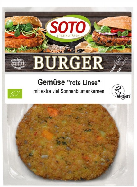 Burger Gemüse-Rote Linse vegan 2St, 160g
