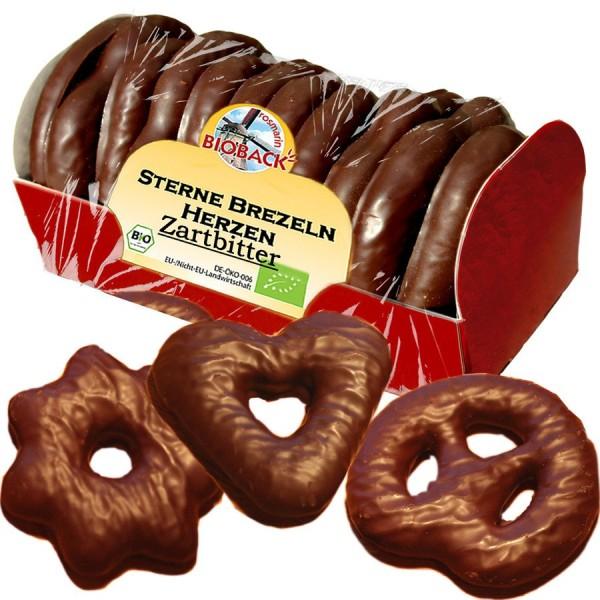 Lebkuchen in Zartbitter Brezeln - Sterne - Herzen, 175g