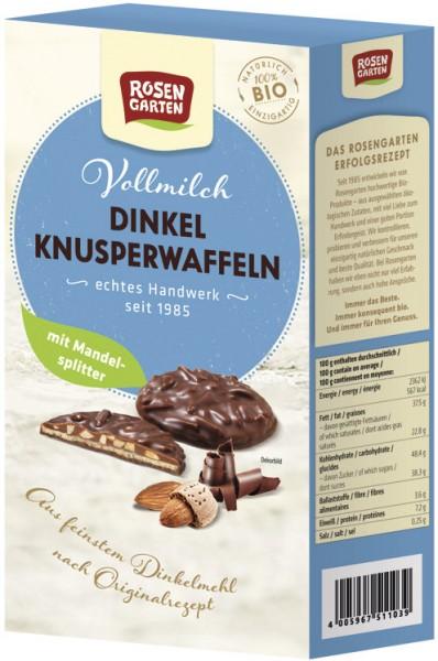 Dinkel-Knusperwaffeln Vollmilch-Mandel, 100g