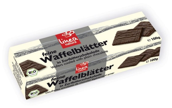 Waffelblätter in Zartbitterschokolade, 100g