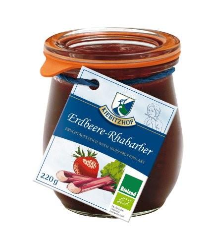 Fruchtaufstrich Erdbeere-Rhabarber BIOLAND - Weck., 220g